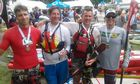 Dusi 2014 - 4 of the 9 who completed the Race on SUPs. Dean Bottcher, John Stallone(USA), Jon Ivins and Justin Shaay(USA)